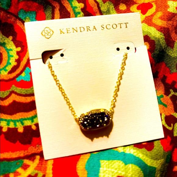 NWT KENDRA SCOTT ELISA Necklace Gold Black Drusy